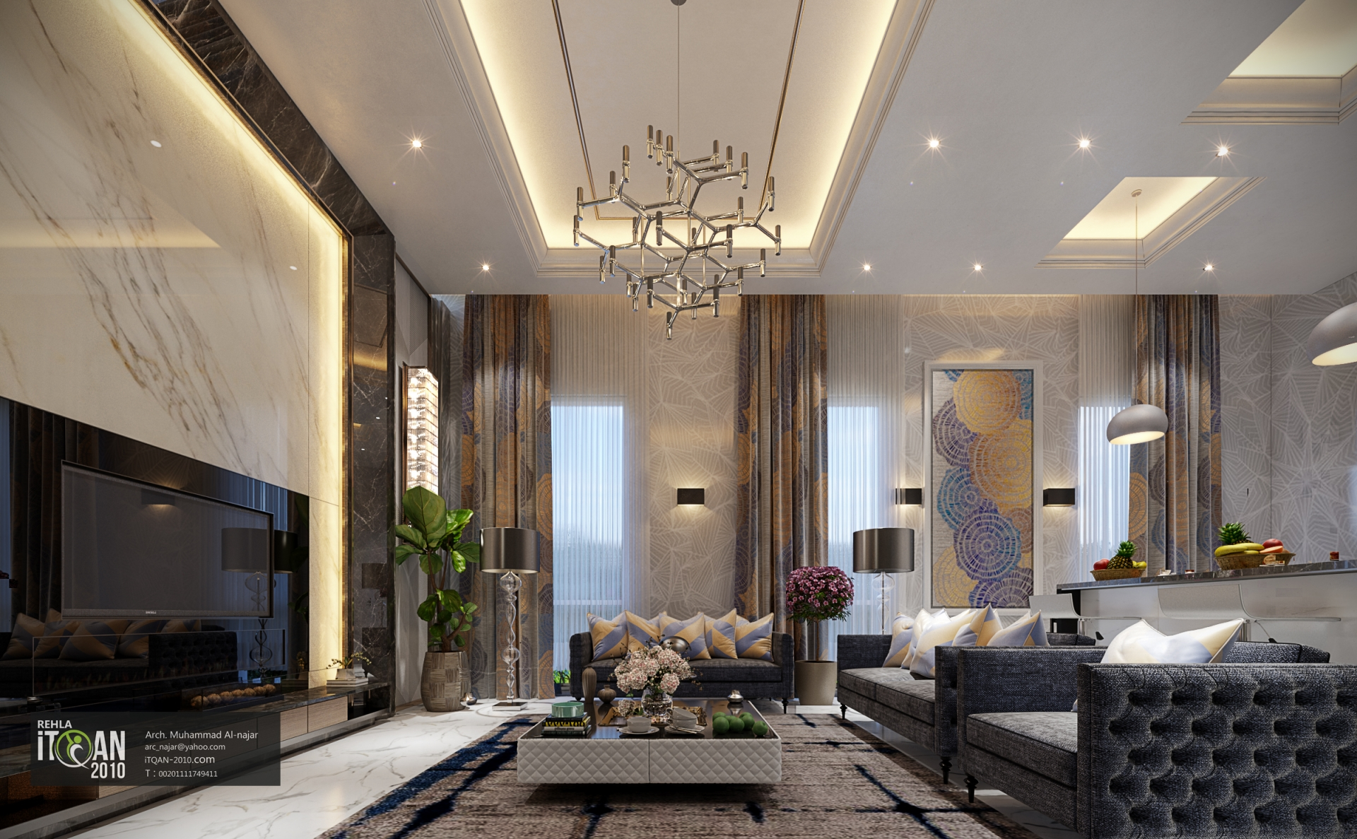 Modern Living Room Uae With Dinning And